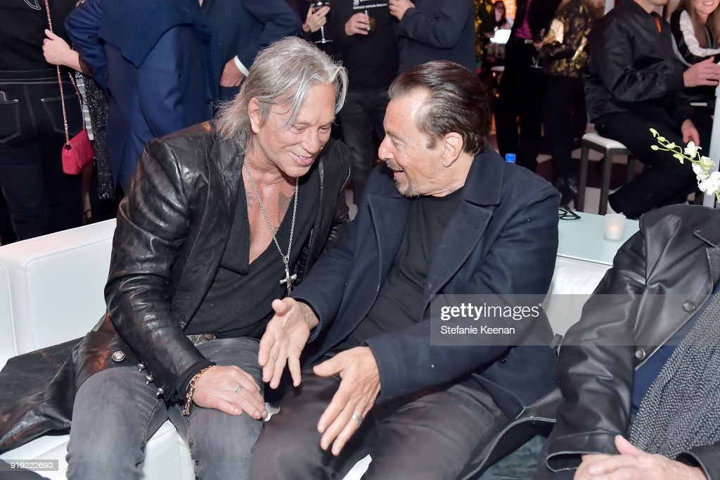 Mickey Rourke and Al Pacino attend Mr Chow 50 Years on February 16, 2018 in Vernon, California.