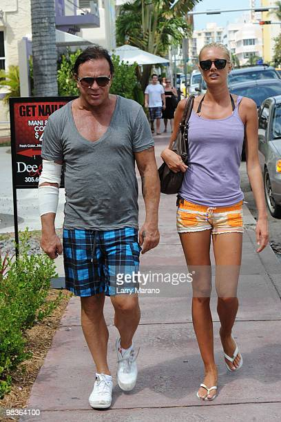 Mickey Rourke and Anastassija Makarenko his Russian girlfriend are sighted on April 9, 2010 in Miami Beach, Florida.