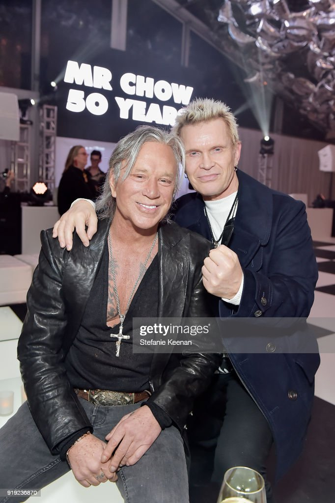 Mickey Rourke and Billy Idol attend Mr Chow 50 Years on February 16, 2018 in Vernon, California.