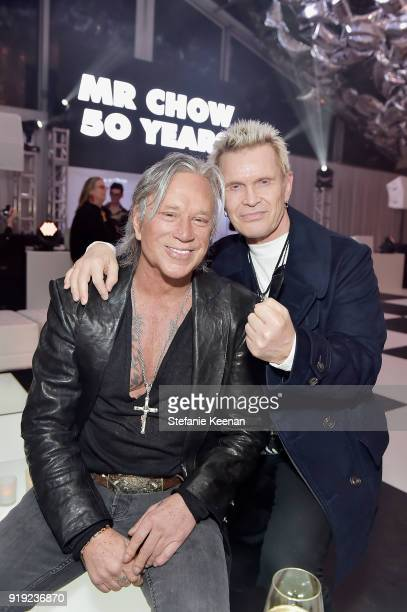 Mickey Rourke and Billy Idol attend Mr Chow 50 Years on February 16 2018 in Vernon California