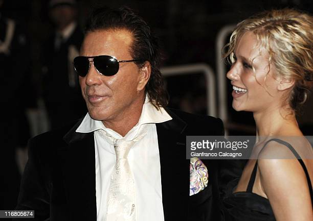 Mickey Rourke and guest during 2007 Cannes Film Festival Paranoid Park Premiere at Palais des Festivals in Cannes France