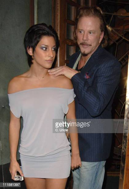 Mickey Rourke and guest during Ricky Gervais and Mickey Rourke Sighting at The Ivy Restaurant in London August 16 2005 at The Ivy Restaurant in...