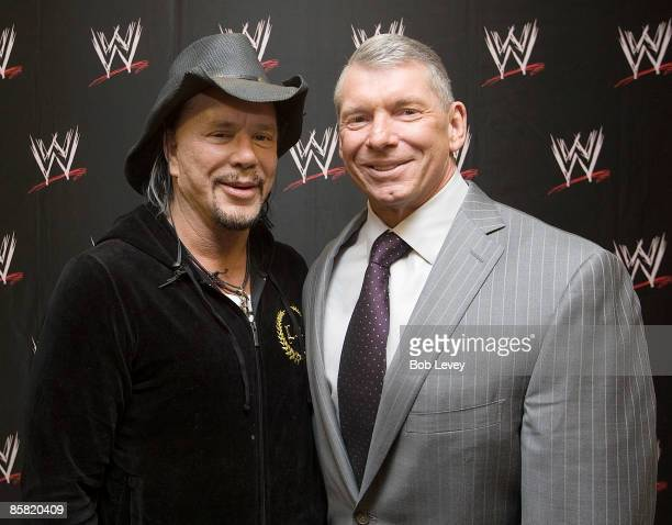 "Mickey Rourke, and WWE Chairman Vince McMahon backstage before ""WrestleMania 25"" at the Reliant Stadium on April 5, 2009 in Houston, Texas."