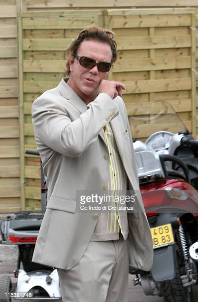 Mickey Rourke during 2005 Cannes Film Festival Miramax Luncheon Arrivals at The Majestic in Cannes France
