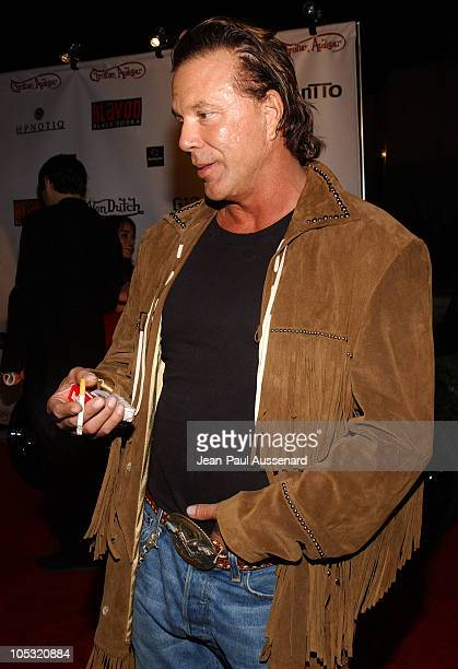 Mickey Rourke during Von Dutch Designer Christian Audigier's Birthday Celebration at Private residence in Hollywood California United States