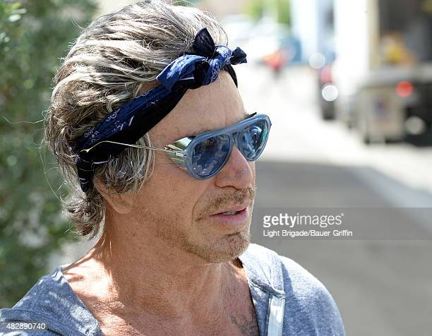 Mickey Rourke is seen in Beverly Hills on August 03 2015 in Los Angeles California