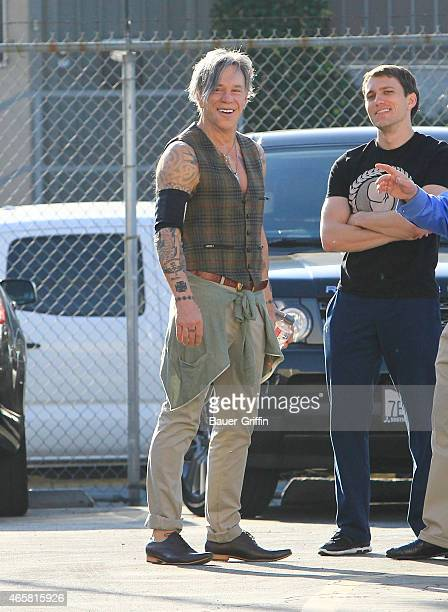 Mickey Rourke is seen in Hollywood on March 10 2015 in Los Angeles California