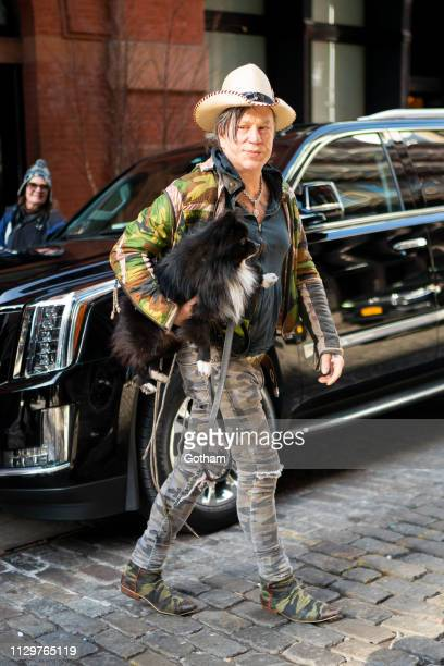 Mickey Rourke is seen in SoHo on February 14 2019 in New York City