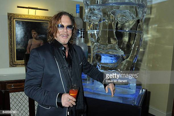Mickey Rourke poses at the Soho House Grey Goose After Party at the Grosvenor House Hotel on February 8, 2009 in London, England.