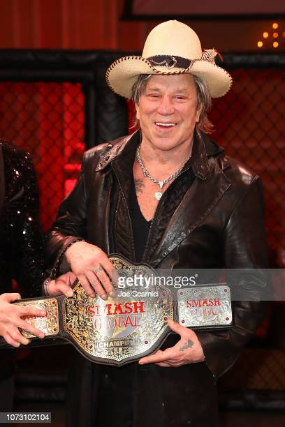Mickey Rourke poses for a photo at SMASH Global VIII ñ Night Of Champions at Taglyan Cultural Complex on December 13 2018 in Hollywood California