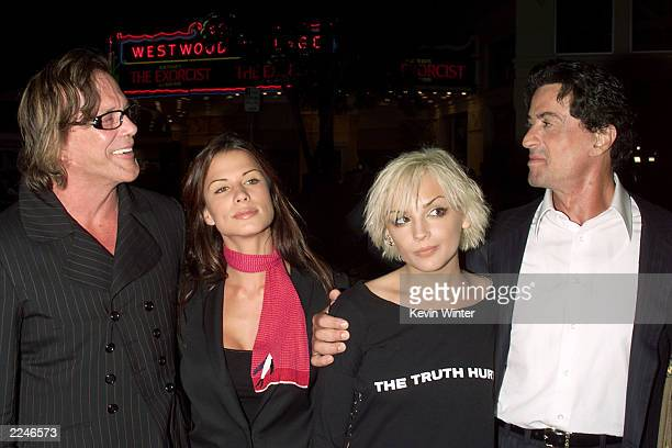 Mickey Rourke, Rhona Mitra, Rachael Leigh Cook and Sylvester Stallone at the premiere of 'Get Carter' at the Bruin Theater, Westwood, Ca. 10/4/00....