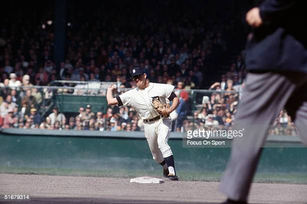 Mickey Stanley shortstop for the Detroit Tigers throws to first during the World Series against St Louis Cardinals at Tiger Stadium on October 1968...