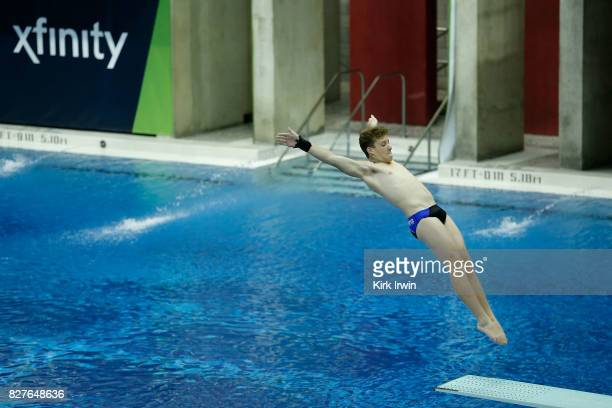 Mickey Strauss of the BYU Cougar Diving team completes a dive during the Senior Men's 1m Semi Final during the 2017 USA Diving Summer National...