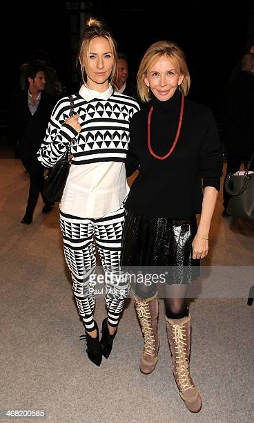 Mickey Sumner and Trudie Styler attend the Edun show during MercedesBenz Fashion Week Fall 2014 at Skylight Modern on February 9 2014 in the Brooklyn...