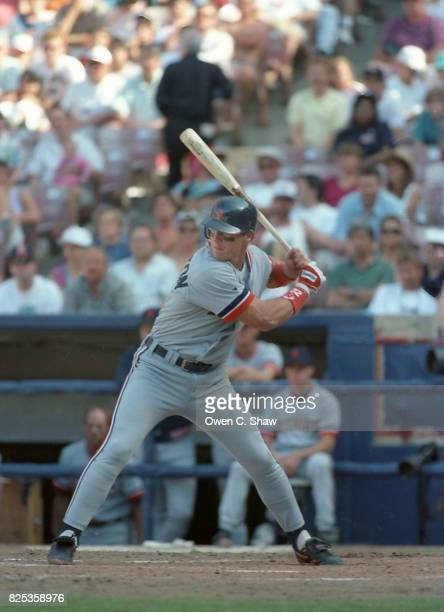 Mickey Tettleton of the Detroit Tigers bats against the California Angels at the Big A circa 1992 in Anaheim California
