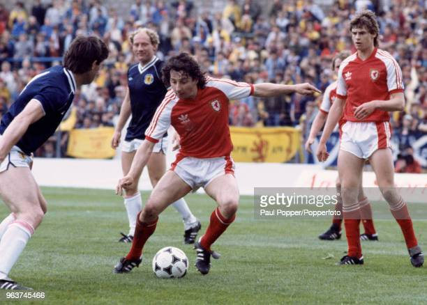 Mickey Thomas of Wales in action during the British Home Championship match between Wales and Scotland at Ninian Park on May 28 1983 in Cardiff...