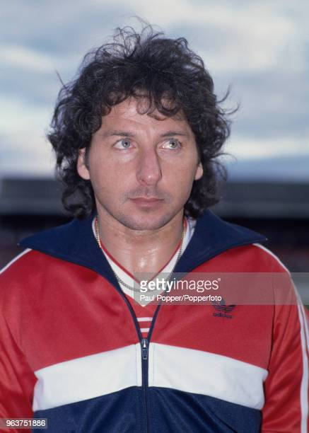 Mickey Thomas of Wales lines up before the FIFA World Cup Qualifier between Wales and Spain at the Racecourse Ground on April 30 1985 in Wrexham Wales
