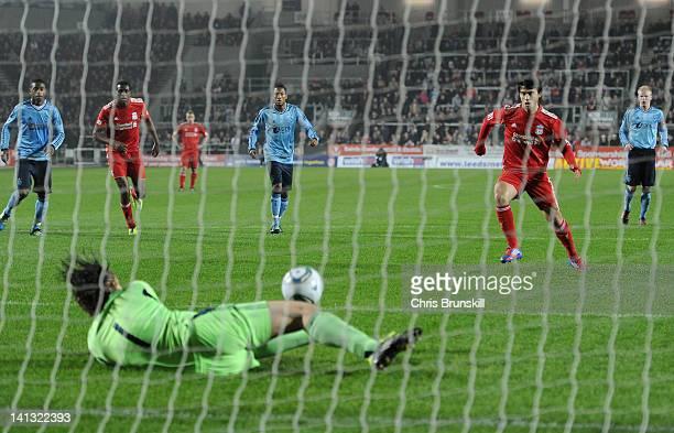 Mickey van der Hart of Ajax saves a penalty kick by Suso of Liverpool during the NextGen Series Semi-Final match between Liverpool U19 and Ajax U19...