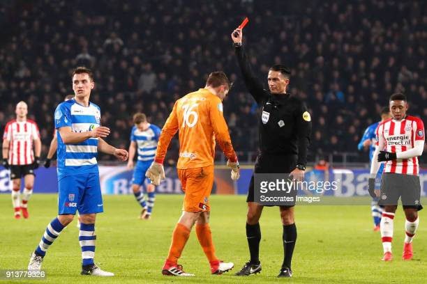 Mickey van der Hart of PEC Zwolle receives a red card from referee Serdar Gozubuyuk during the Dutch Eredivisie match between PSV v PEC Zwolle at the...