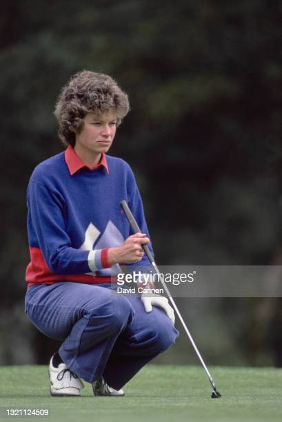 Mickey Walker of Great Britain sights her putt on the green during the Ladies European Tour Ford Ladies' Classic golf tournament on 7th May 1983 at...