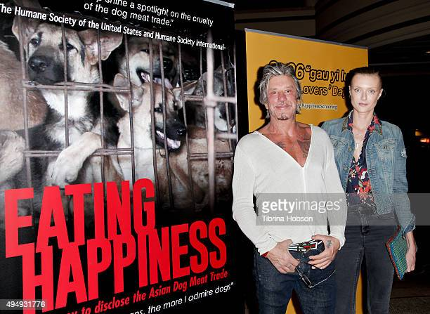 Mickey Warrick and Anastassija Makarenko attend a screening of 'Eating Happiness' presented by World Dog Alliance at Pacific Theatre at The Grove on...
