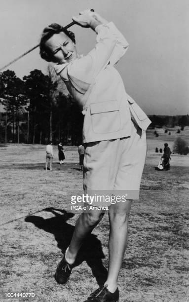 Mickey Wright hits her tee shotn