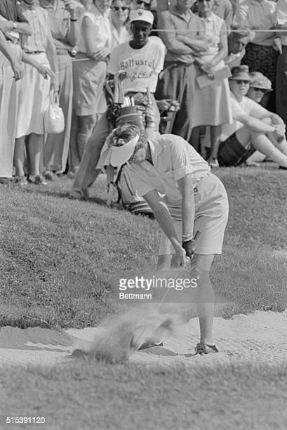 Mickey Wright of Dallas TX shows she used to win the US Women's Open Golf Championship at the Baltusrol golf club here The 26yearold blonde is...