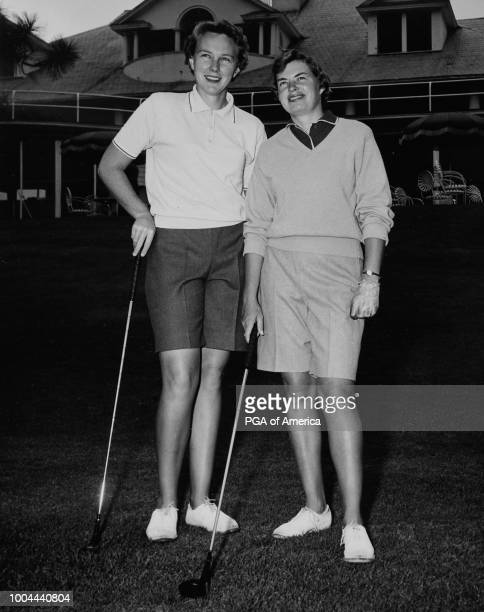 Mickey Wright poses for a photo with Betsy Rawls