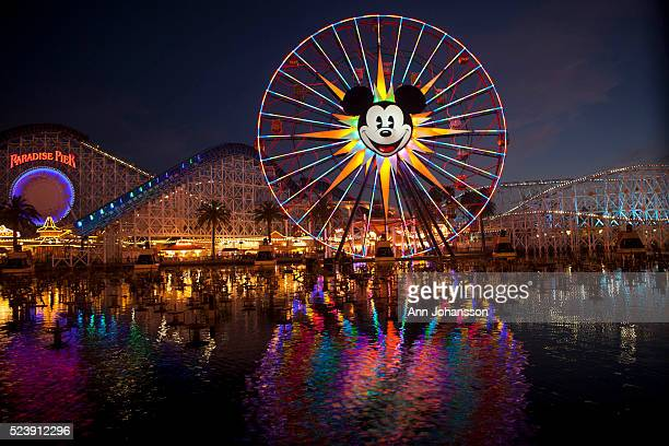 Mickey's Fun Wheel is photographed at dusk in Disney California Adventure Park in Anaheim July 8 2012