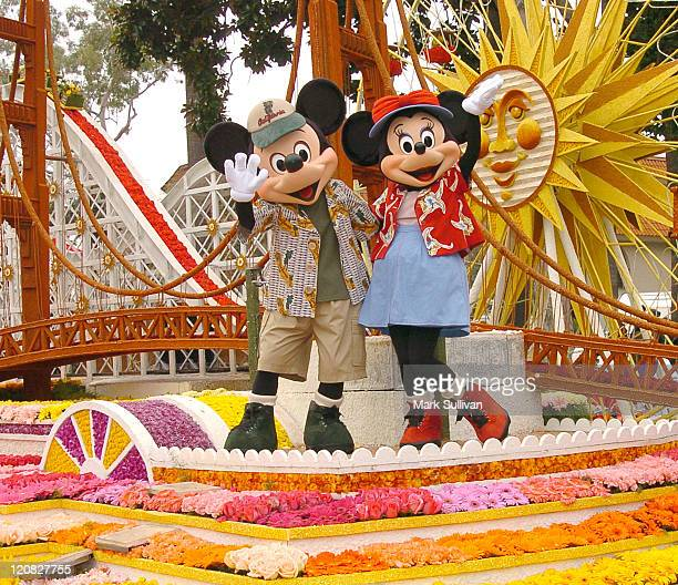 Mickie and Minnie Mouse ride the Disney's California Adventure float A Sudden Drop in Pitch in The 115th Tournament of Roses Parade