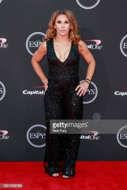 Mickie James attends the 2018 ESPYS at Microsoft Theater on July 18 2018 in Los Angeles California