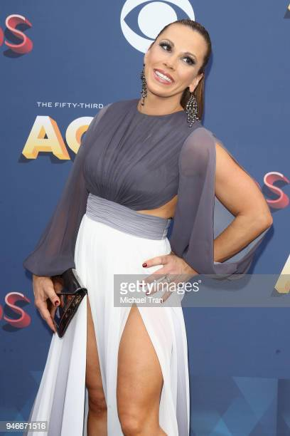 Mickie James attends the 53rd Academy of Country Music Awards at MGM Grand Garden Arena on April 15 2018 in Las Vegas Nevada