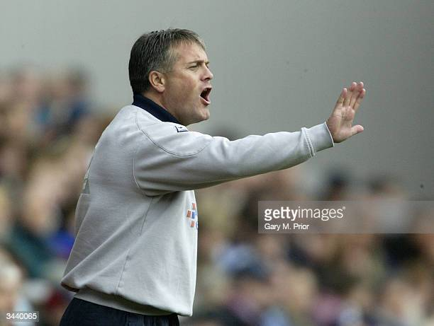 Micky Adams Leicester City manager gives orders to his team during the FA Barclaycard Premiership match between Blackburn Rovers and Leicester City...