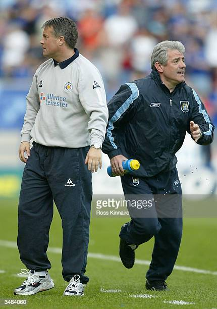 Micky Adams Manager of Leicester and Kevin Keegan manager of Manchester during the FA Barclaycard Premiership match between Leicester City and...