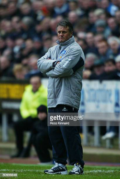Micky Adams manager of Leicester City looks on during the FA Barclaycard Premiership match between Newcastle United and Leicester City at St James...