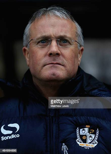 Micky Adams manager of Port Vale looks on during the FA Cup fourth round match between Port Vale and Brighton Hove Albion at Vale Park on January 25...