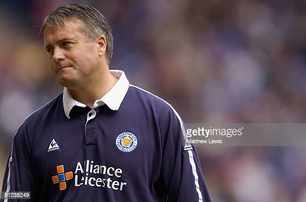 Micky Adams the Leicester manager shows his disappointment after losing during the CocaCola Championship match between Leicester City and Brighton...