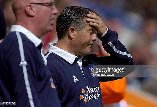 Micky Adams the Leicester manager shows his disappointment during the CocaCola Championship match between Leicester City and Brighton and Hove Albion...