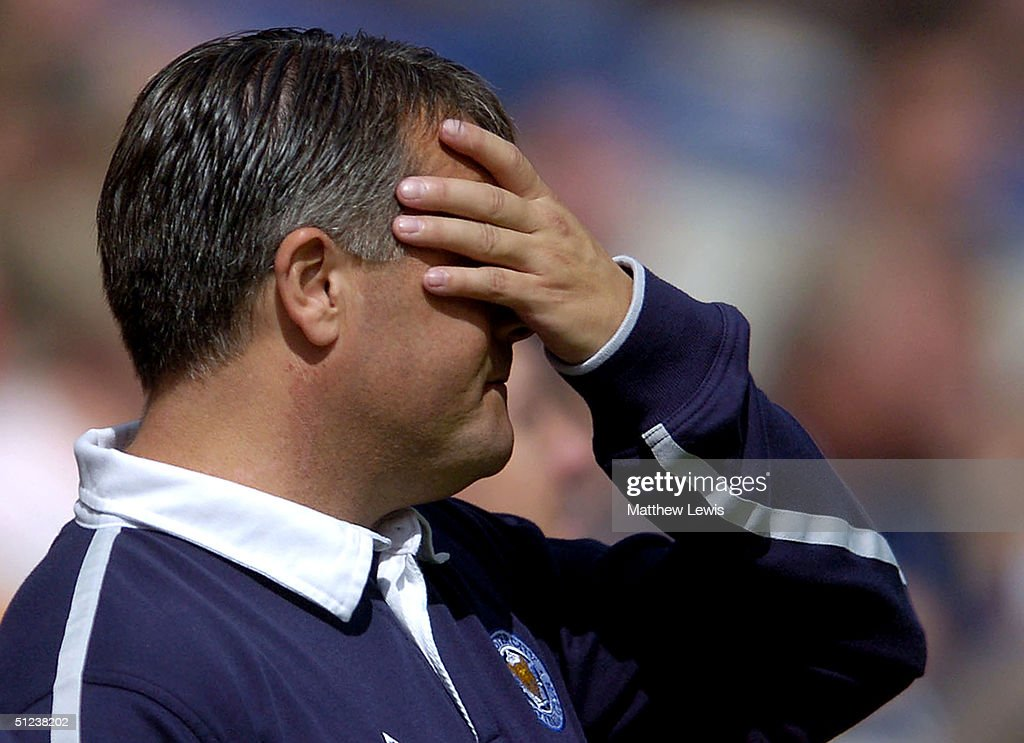 Micky Adams, the Leicester manager, shows his disappointment during the Coca-Cola Championship match between Leicester City and Brighton and Hove Albion at the Walkers Stadium on August 30, 2004 in Leicester, England.