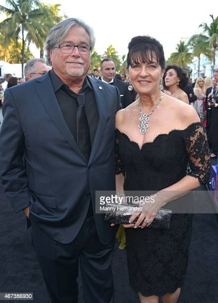 Micky Arison and Madeleine Arison attends Miami Heat Black Tie On Ocean Drive Gala at Betsy Hotel Rooftop on March 14 2015 in Miami Beach Florida