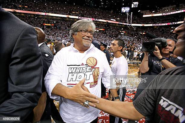 Micky Arison of the Miami Heat celebrates after defeating the San Antonio Spurs following during Game Seven of the 2013 NBA Finals on June 20 2013 at...