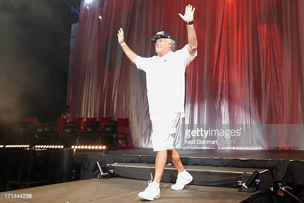 Micky Arison owner of the Miami Heat celebrates during the championship celebration at the American Airlines Arena on June 24 2013 in Miami Florida...