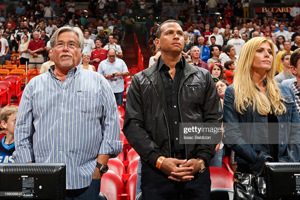 Micky Arison, owner of the Miami Heat, left, stands with Alex Rodriguez of the New York Yankees before an NBA game between the Heat and the Washington Wizards on January 6, 2013 at American Airlines Arena in Miami, Florida.