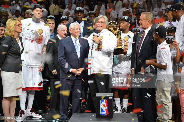 Micky Arison owner of the Miami Heat speaks to the fans during the Larry O'Brien Trophy presentation after the Miami Heat defeated the San Antonio...
