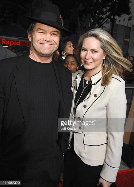Micky Dolenz and Donna Quinter during Grindhouse Los Angeles Premiere Red Carpet at Orpheum Theatre in Los Angeles California United States