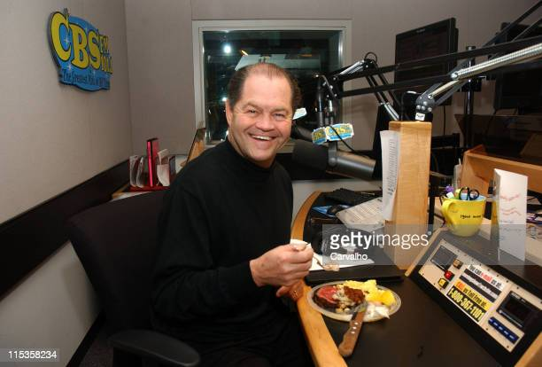 Micky Dolenz enjoys his breakfast from Palm West during Palm West Delivers Breakfast to CBS FM's Micky Dolenz on Micky Dolenz in the Morning at CBS...