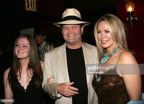 Micky Dolenz with daughter Georgia and wife Donna attend Dreamworks Premiere Of The Island at the Ziegfeld theatre on July 11 2005 in New York City