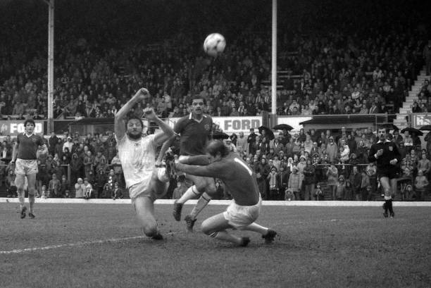 Micky Droy of Chelsea in action during the Division 2 match between Leicester City and Chelsea at Filbert Street on January 3, 1983 in...