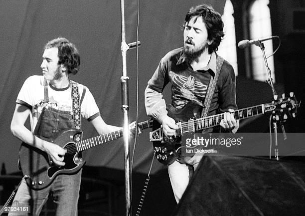 LONDON Micky Jones and Alan 'Tweke' Lewis from Man perform live on stage at Alexandra Palace London in 1973
