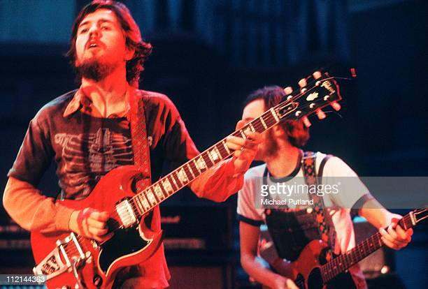 Micky Jones and Alan 'Tweke' Lewis of Man perform on stage at Alexandra Palace Festival London 28th July 1973
